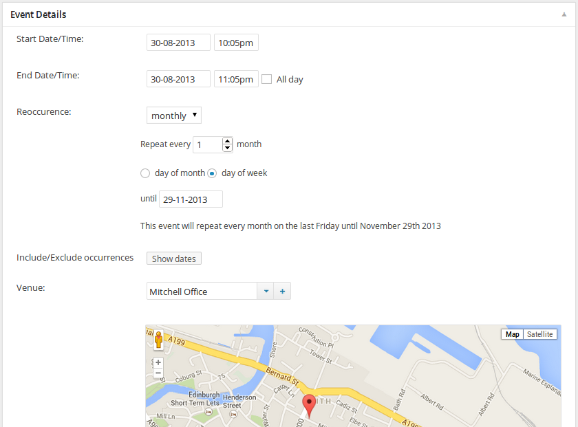 Event details metabox, showing the full reoccurrence options and venue selection