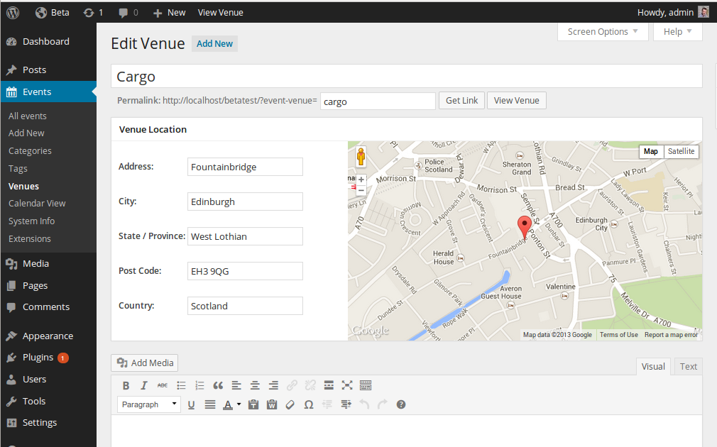 Venue editing screen, with Google Maps