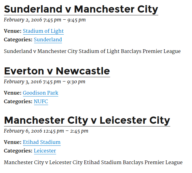Events list (using TwentySixteen)
