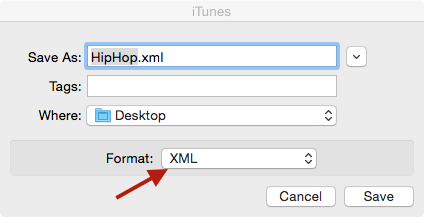 Save Export as XML file