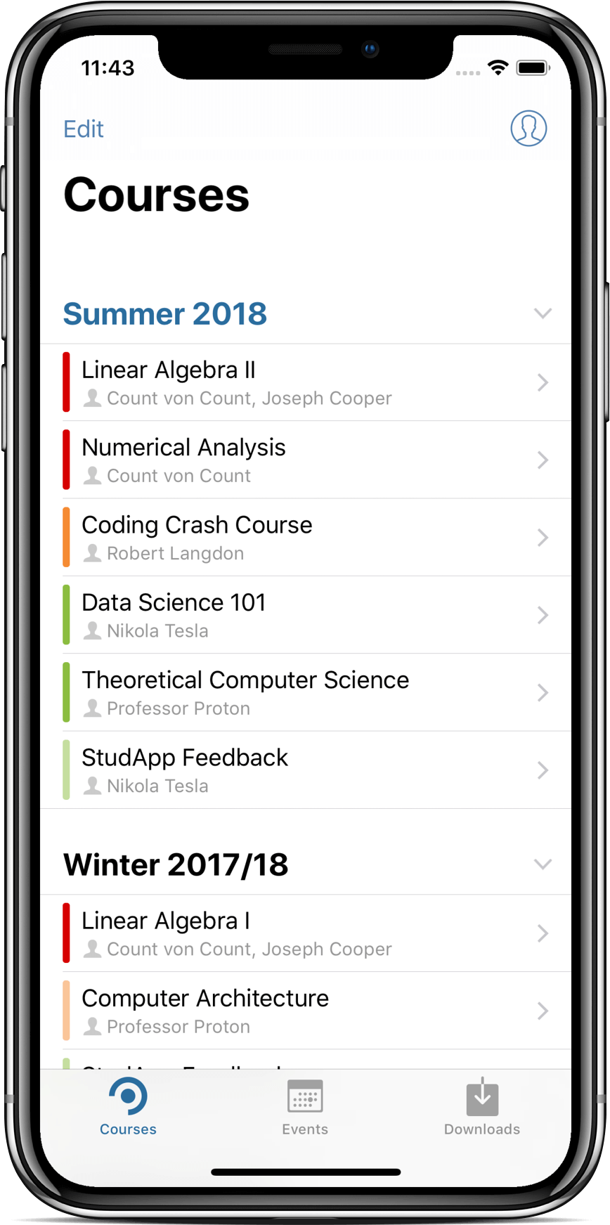Screenshot of StudApp