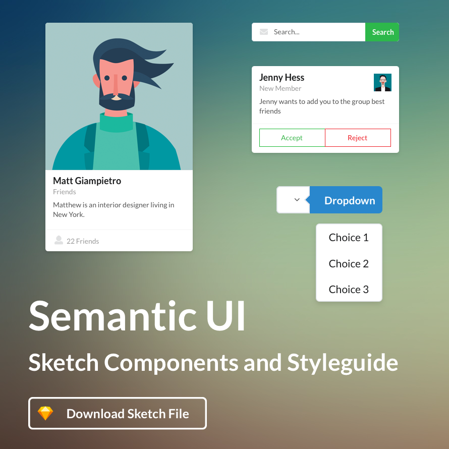 Semantic UI Sketch Styleguide thumbnail