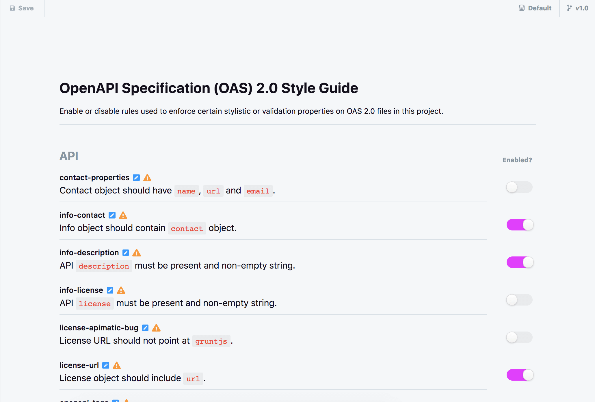 Style Validation Rules in Stoplight