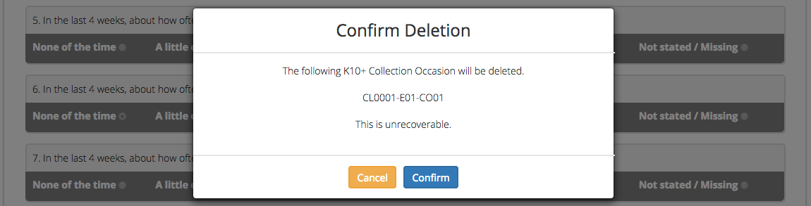 Client Collection Occasion Data Confirm Delete