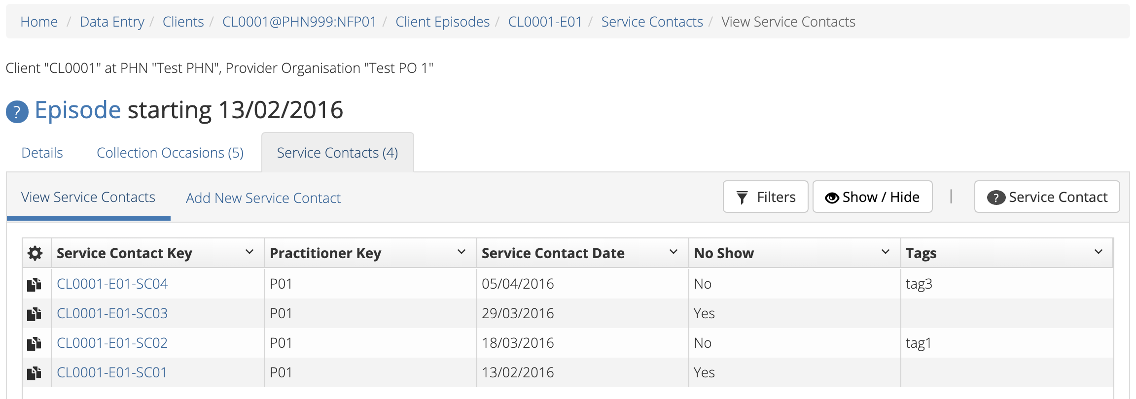 Client Episode Service Contacts Table View