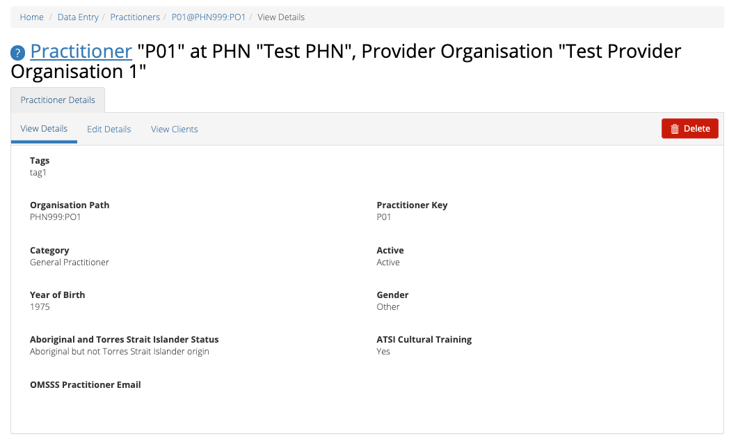 PMHC MDS Practitioner Details View