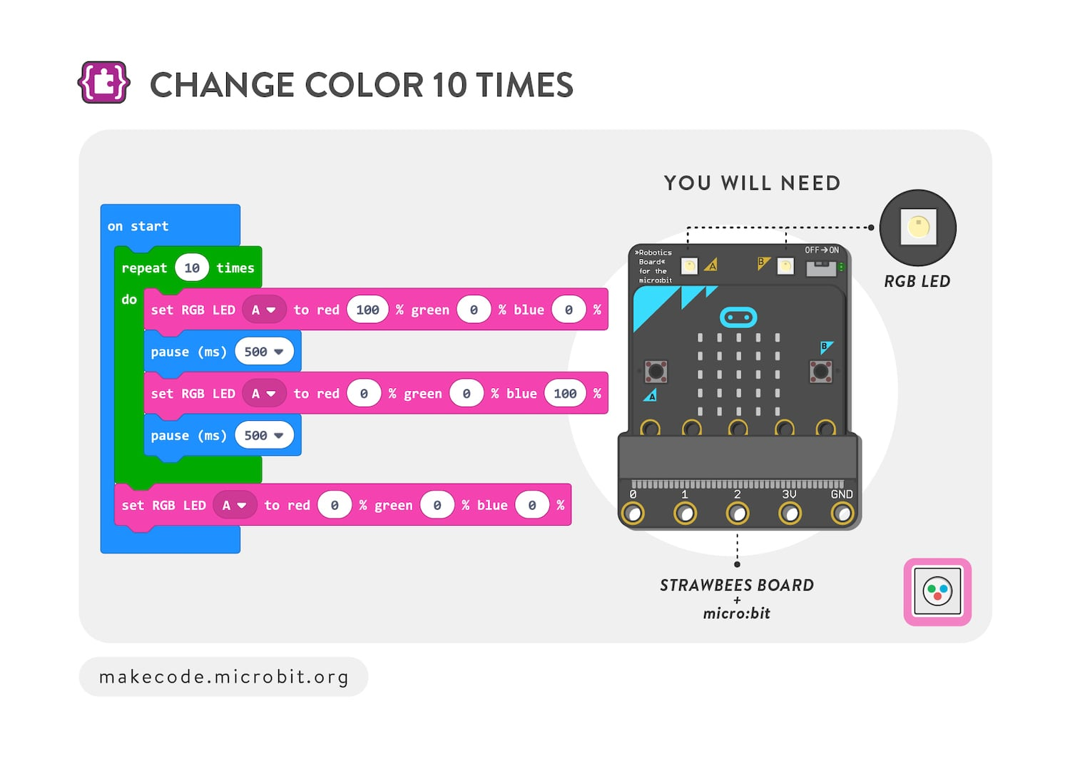 Change color 10 times