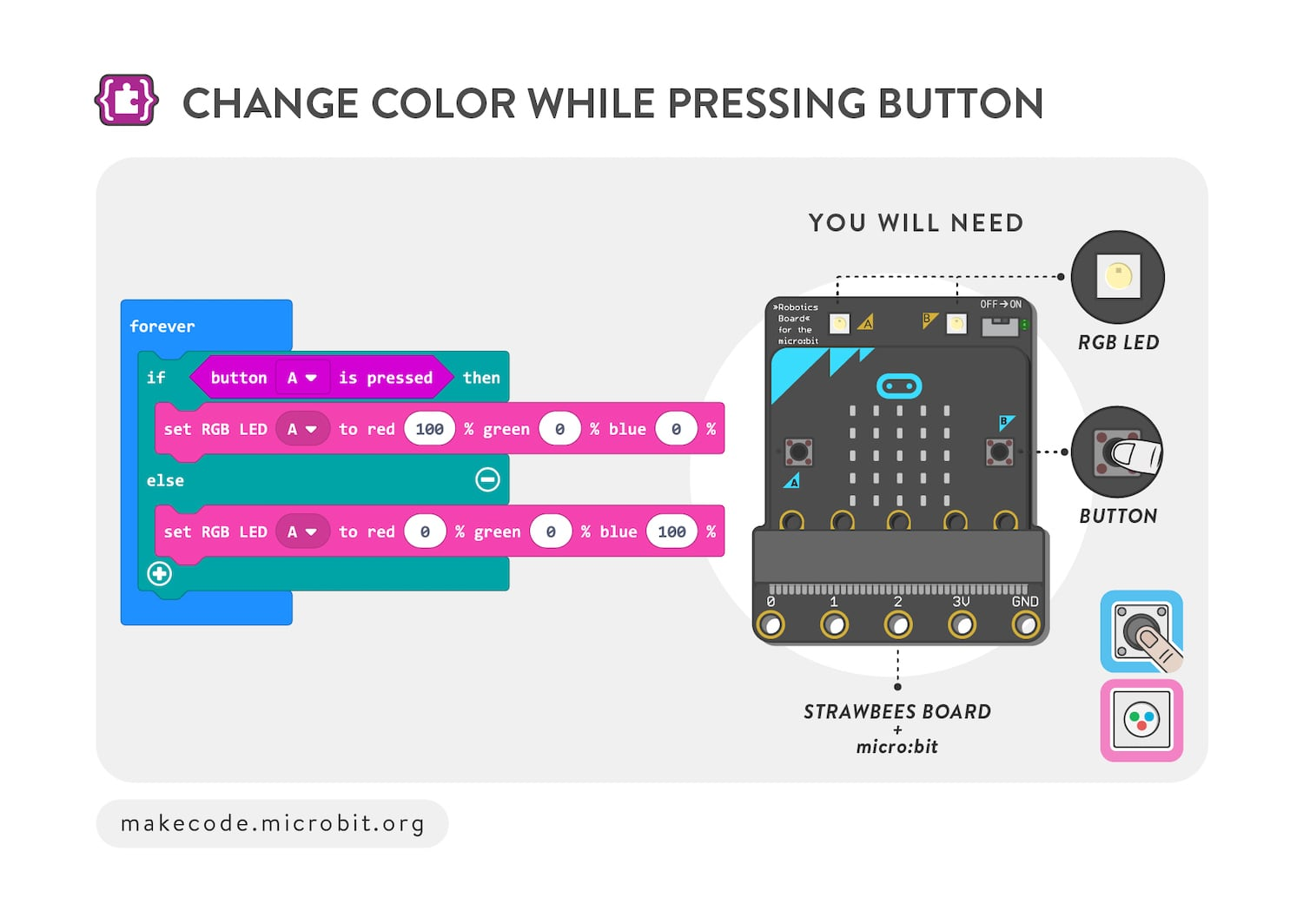 Change color while pressing button