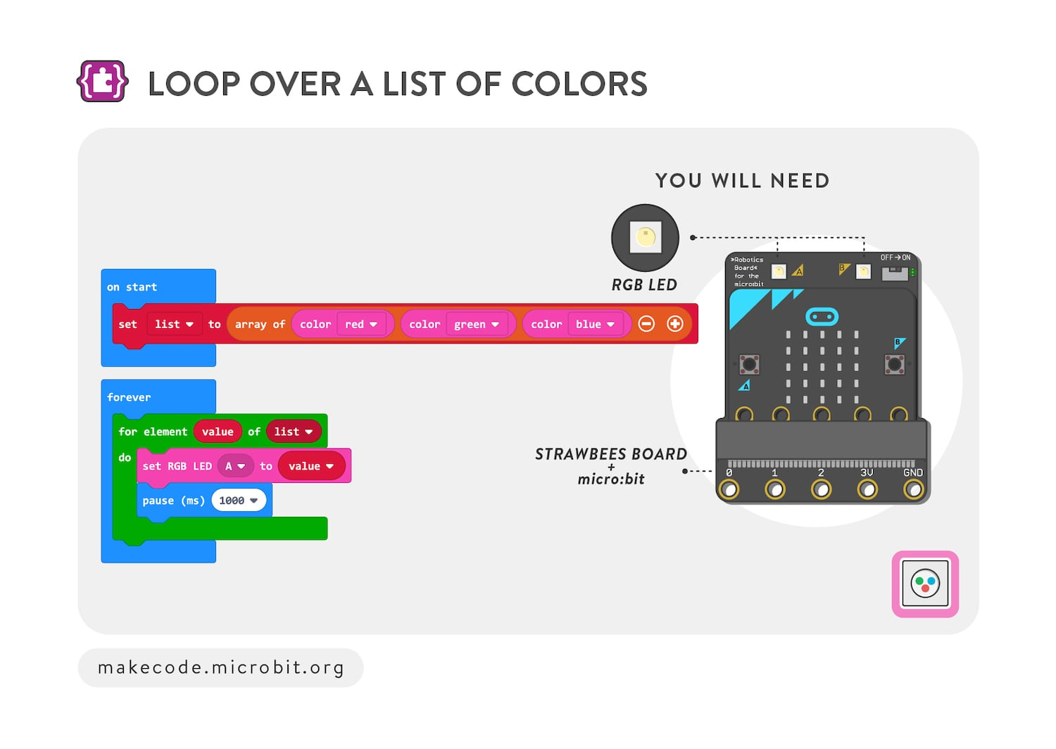 Loop over a list of colors