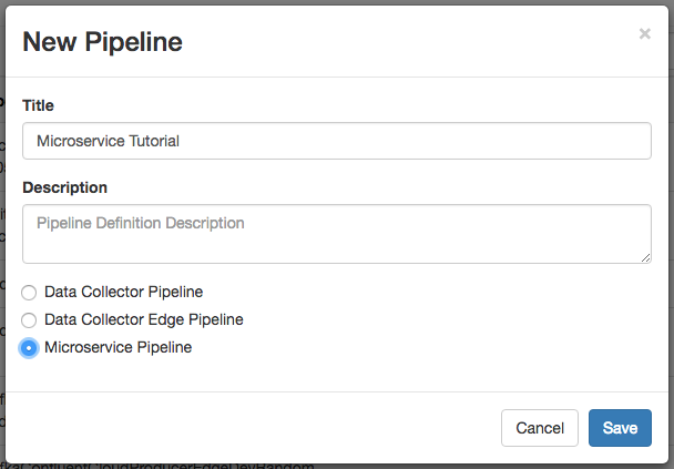 New pipeline dialog