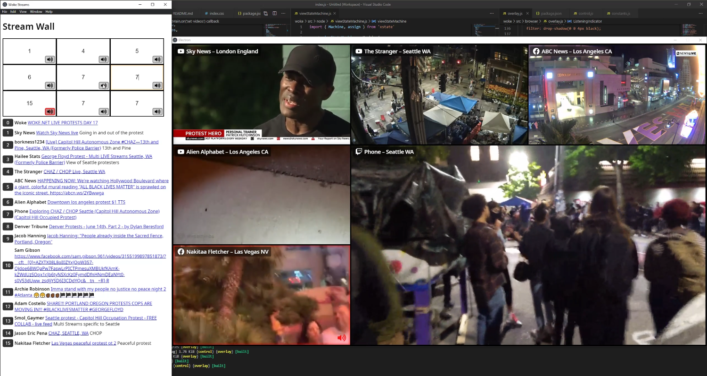 Screenshot of Streamwall displaying a grid of streams
