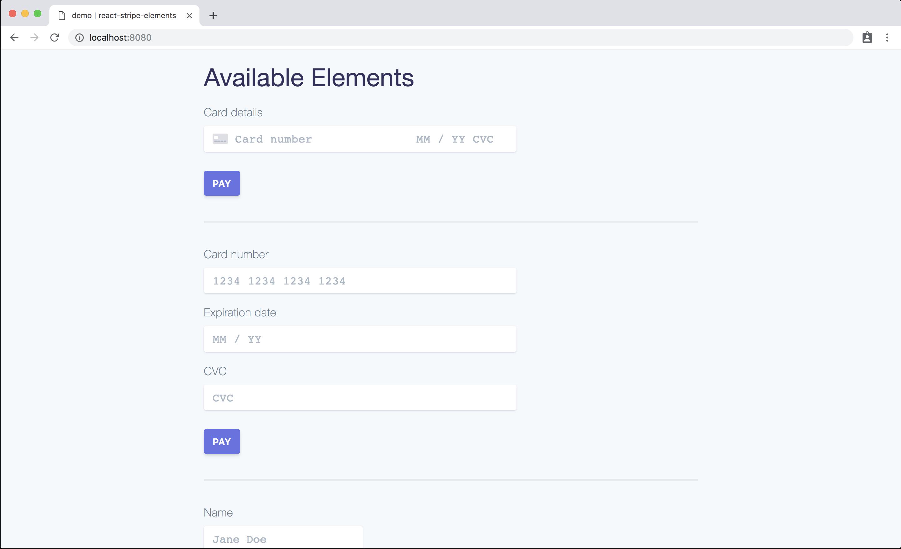 Screenshot of the demo running