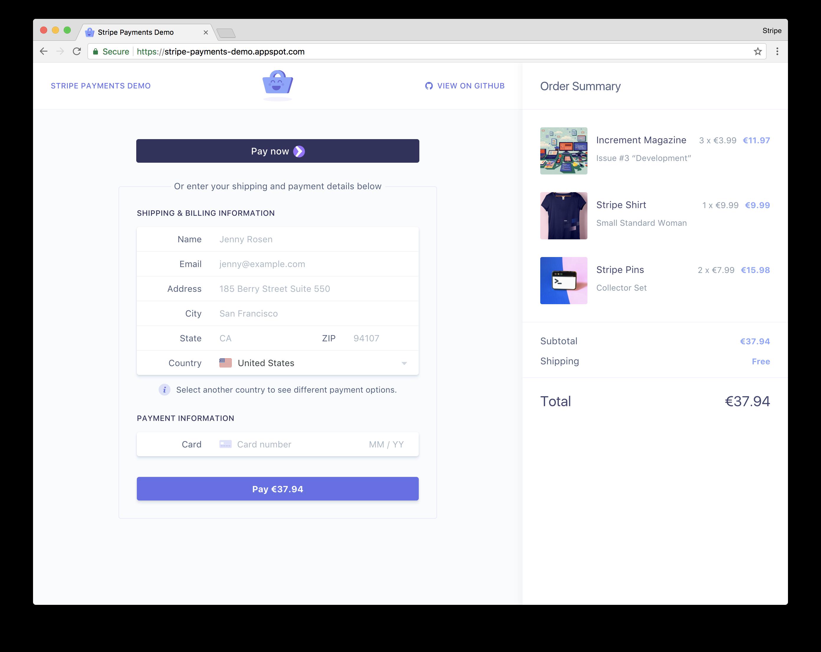 Demo on Google Chrome