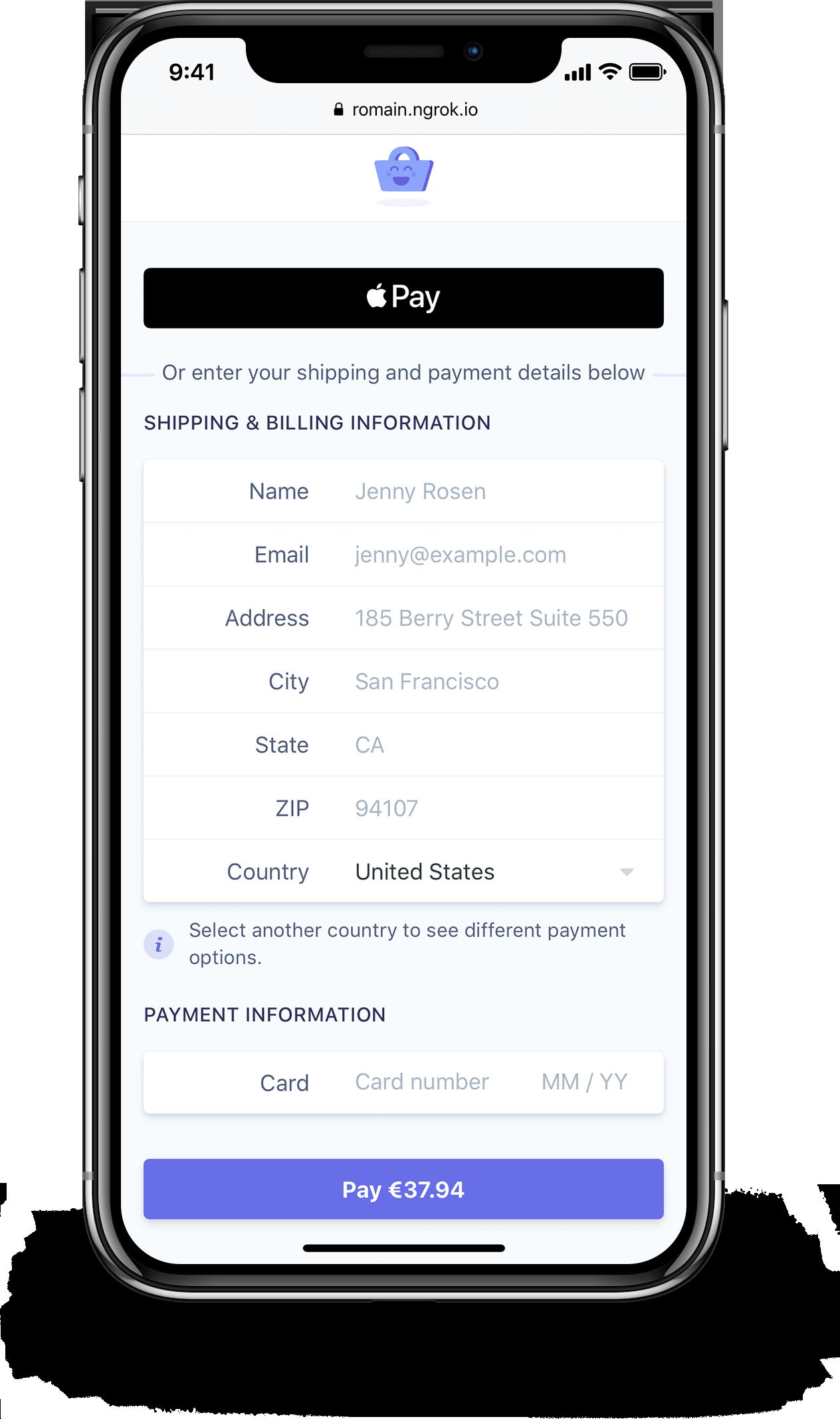 Demo on Safari iPhone X