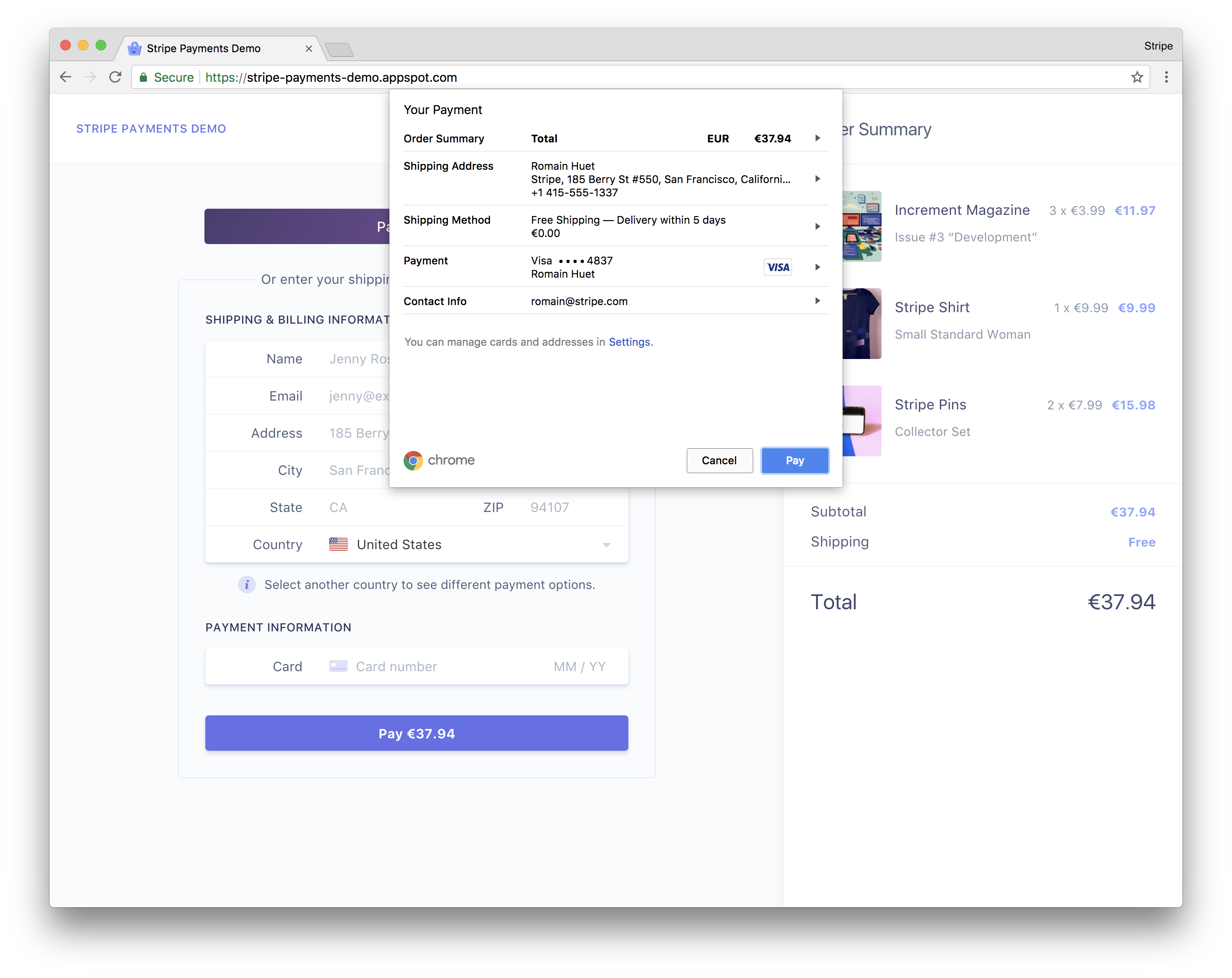 Payment Request on Chrome
