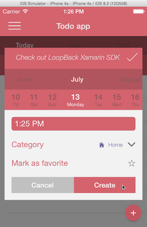 Xamarin demo - adding a To Do item
