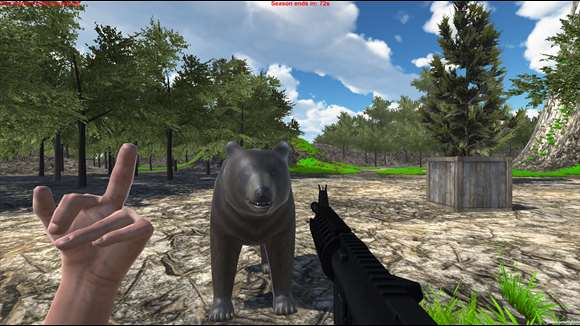 screenshot, giving the bear the finger