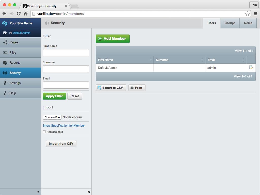 Screenshot of Security Module