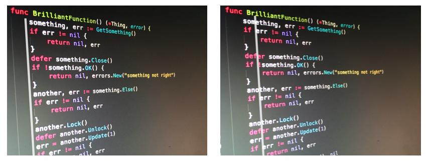 代码中的缩进线:左图的缩进是错误处理和边缘情况的快乐路径