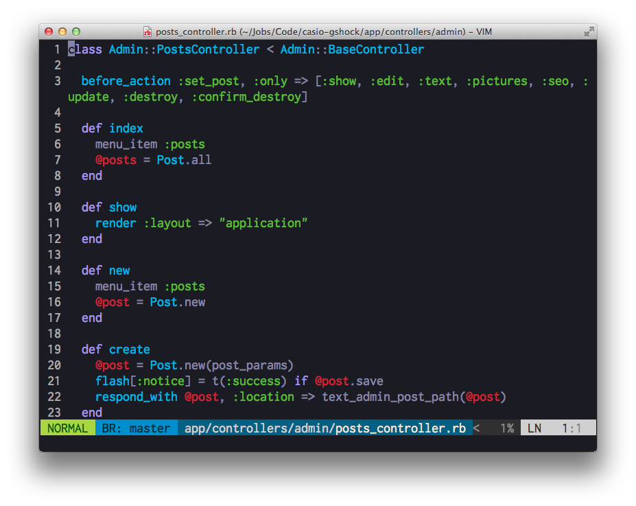 Ruby Code in Heroku Colorscheme