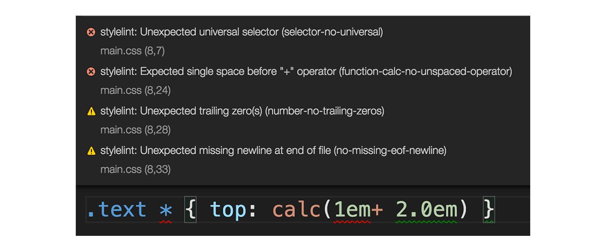 Screenshot of Stylelint errors displayed in VS Code
