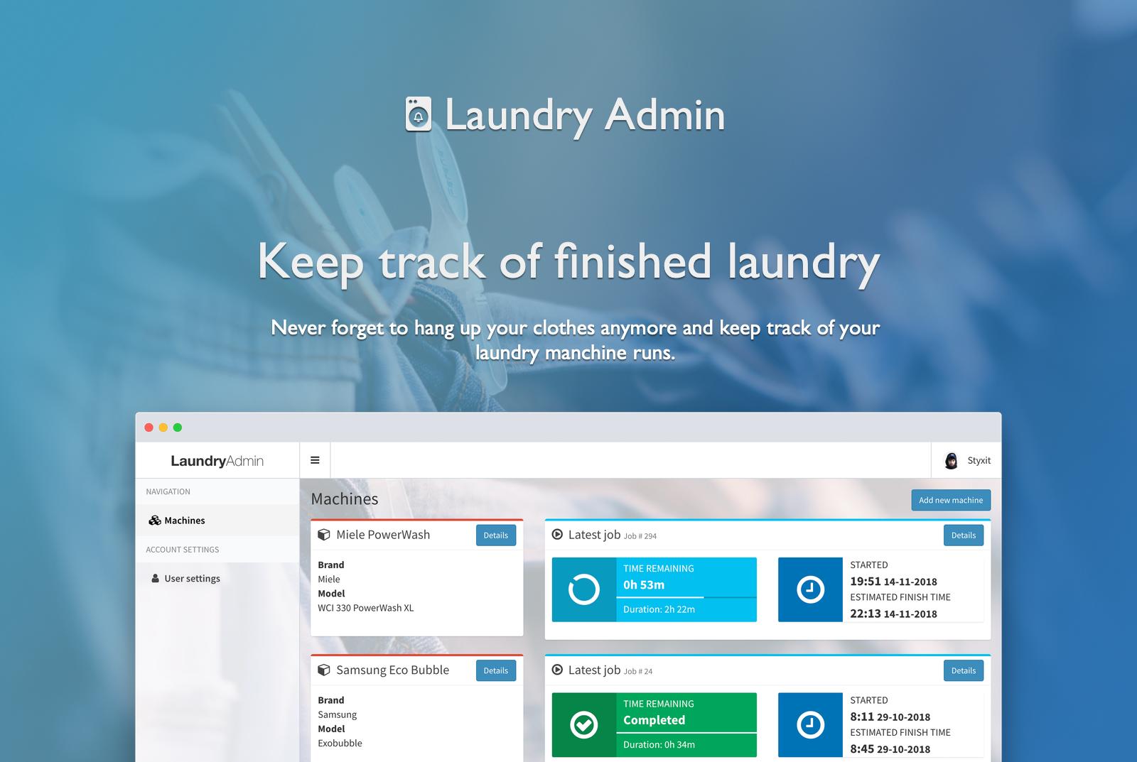 Laundry Admin header
