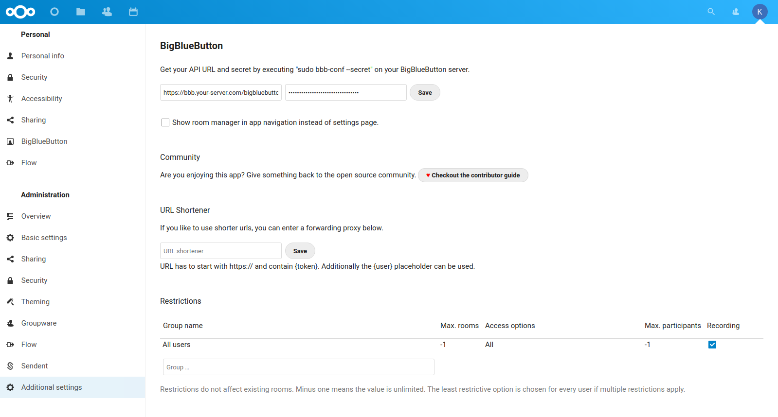Screenshot admin section
