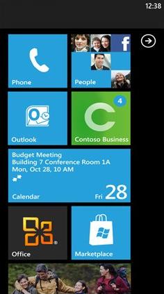 Windows Mobile 7 Start Screen