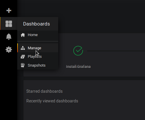 Go to the list of dashboards