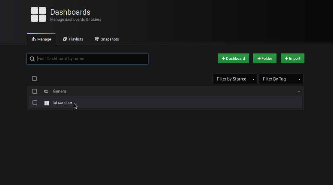 Access the default dashboard