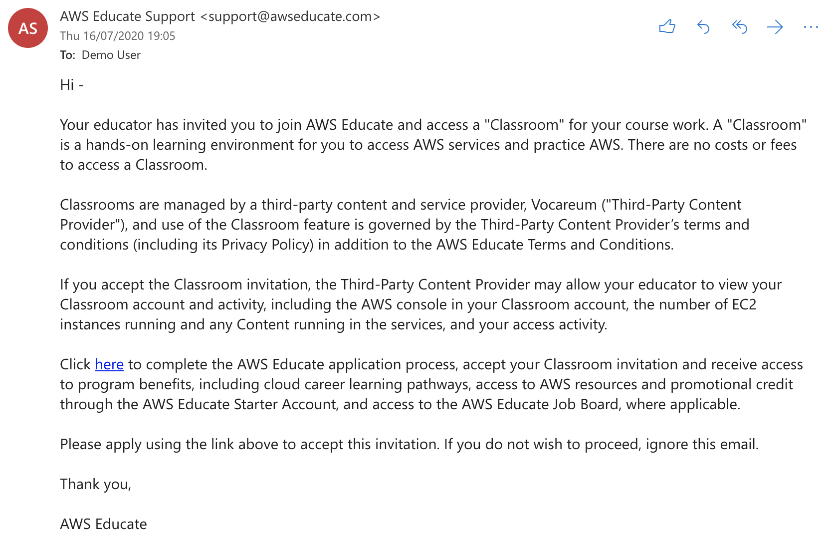 Email from support@awseducate.com