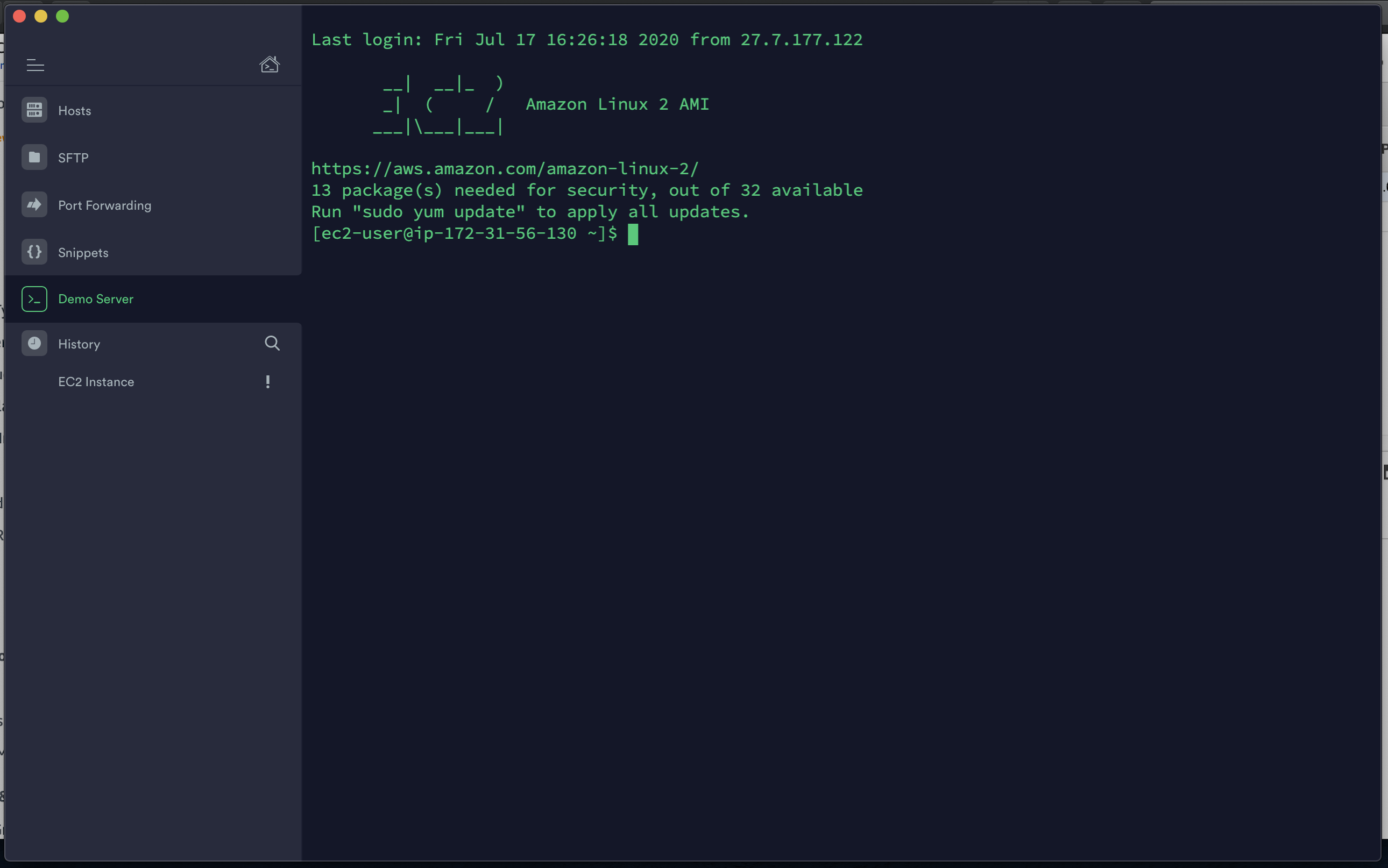 Connected to EC2 with Termius