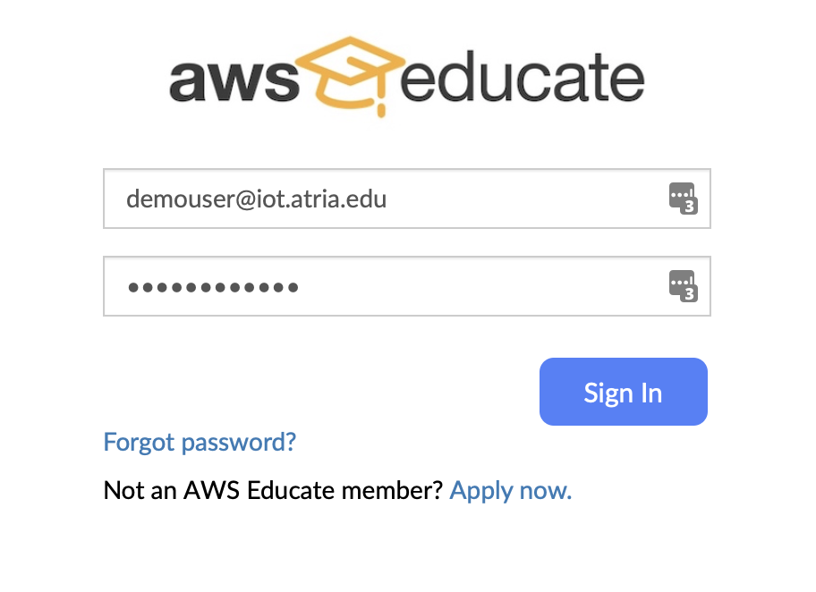 Signing in to AWS Educate