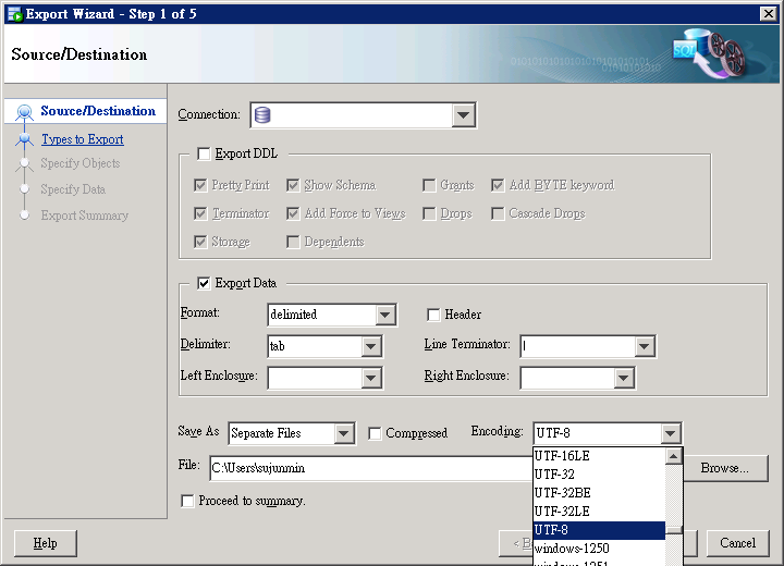 SQL Seveloper Data Export 1