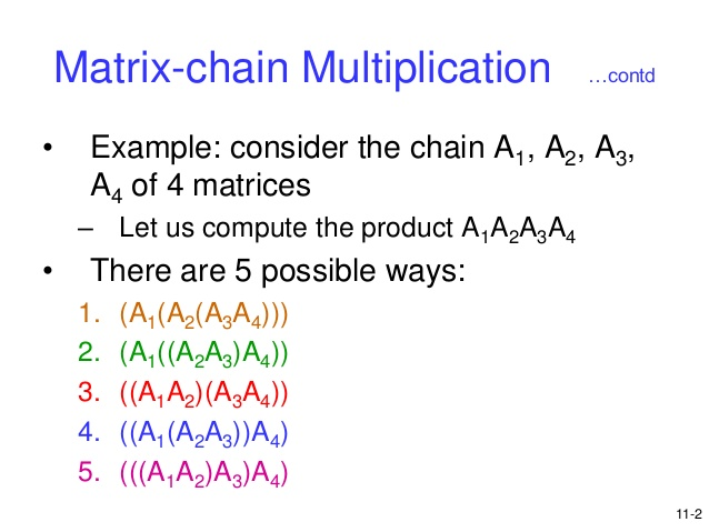 How to solve Matrix Product Parenthesizations problem?