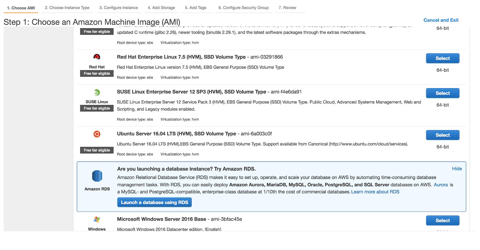 4. Select AMI machine (i.e EC2 Ubuntu ) for Launching