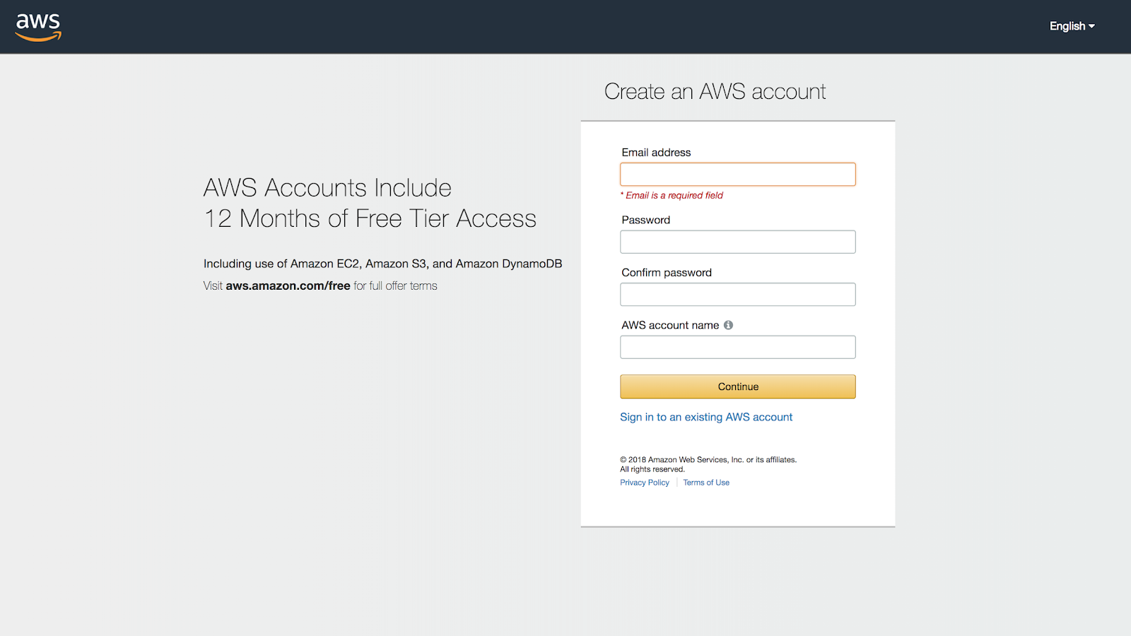 2. Create AWS Free Tier Account