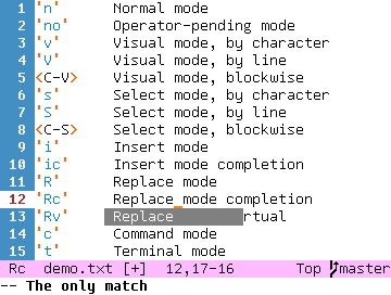'Rc'     Replace mode completion