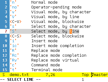 'S'      Select mode, by line