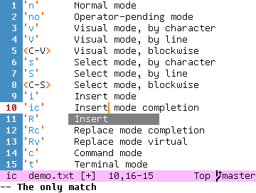 'ic'     Insert mode completion