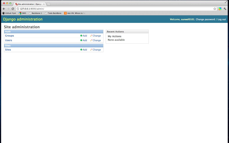 Screenshot of admin