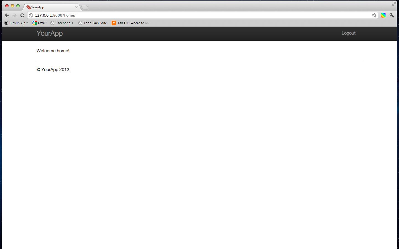 Screenshot of logged in homepage