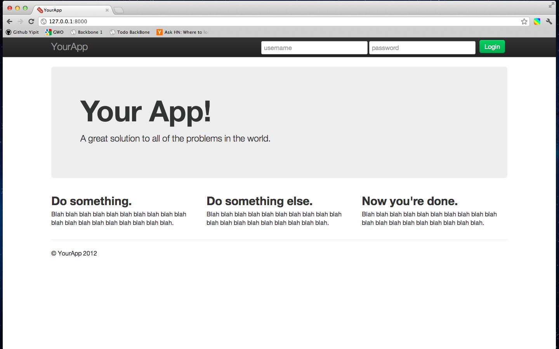 Screenshot of landing page