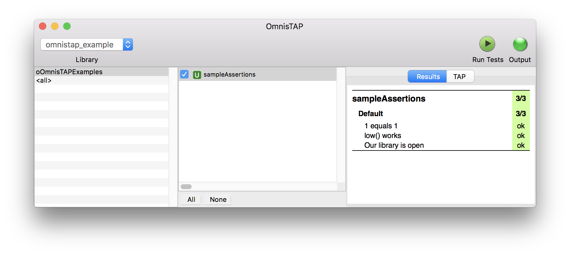 OmnisTAP Example output in the IDE