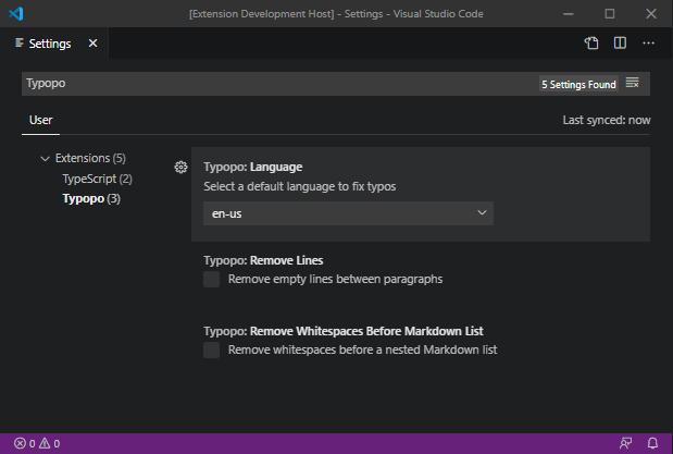 Typopo Settings in VS Code
