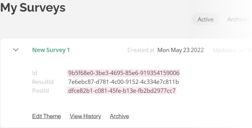 survey get post id