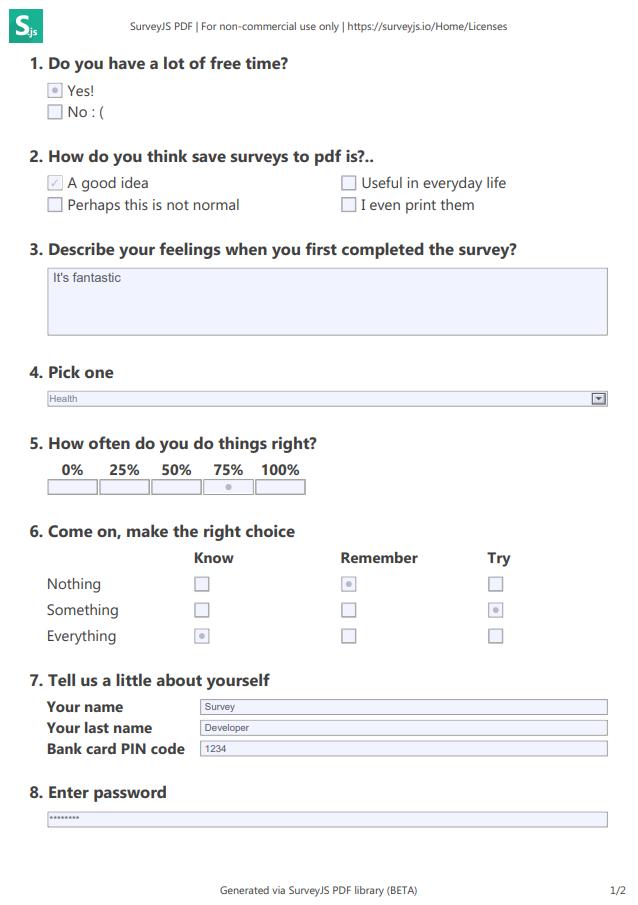 SurveyJS PDF Exporter example page 1