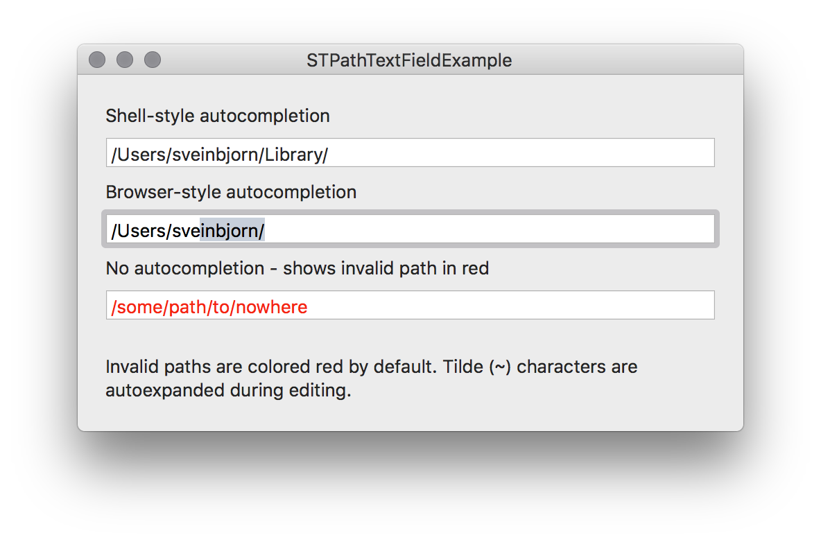 Subclass of NSTextField that supports shell and browser-style path autocompletion