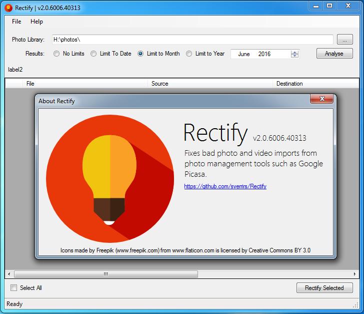Rectify's main screen