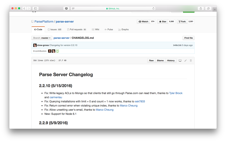 Parse Server changelog